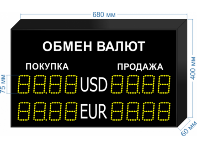 Табло курсов валют KV-135-5X2 (двустороннее)