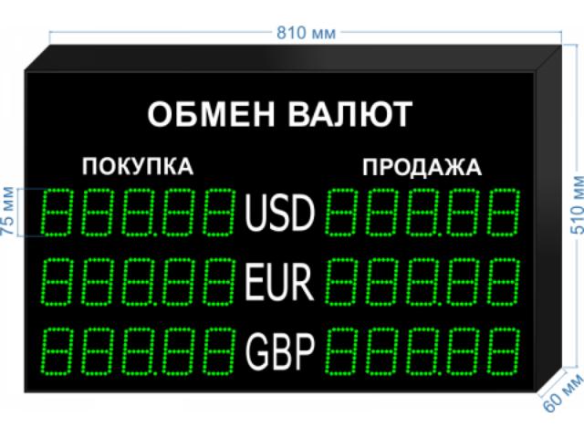 Табло курсов валют KV-135-5X3 (двустороннее)
