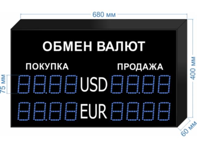 Табло курсов валют KV-75-4X3 (двустороннее)