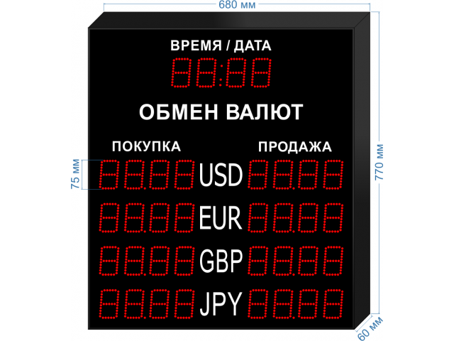 Табло курсов валют KV-75-4x4T (доп. информация)